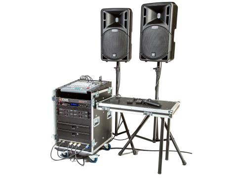 Stage Electrics ENCGPSS0H4L Gold Portable Sound System - 4x Lavalier