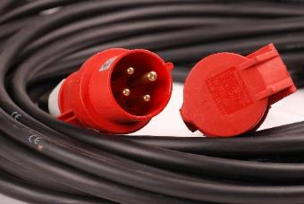 StageCable 16A 415V Motor Cable+Red 4pin Plug & Socket - 10m