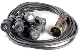 StageCable 19way Plug to 6 x 16A Sockets - Standard Length 2.5mm