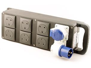 Encore 16A 240V 1ph to 1 x 16A & 6 x 13A Sockets Distro