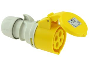 PCE 214-4 16A 110V 4pin Motor Cable Socket IP44 - Yellow