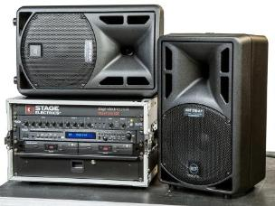 Stage Electrics ENCSPSS0H2L Silver Portable Sound System - 2x Lavalier