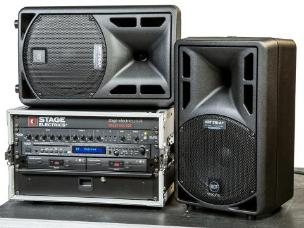 Stage Electrics ENCSPSS2H0L Silver Portable Sound System - 2x Hand Held