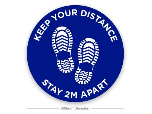 Le Mark FSM400B/W-KEEP Social Distancing Floor Sticker - Keep Your Distance - Blue