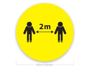 Le Mark FSM400BK/Y-2M Social Distancing Sticker - 2m Distance Sign - Yellow