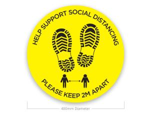 Le Mark FS400BK/Y-HELP Social Distancing Sticker - Help Support - Yellow