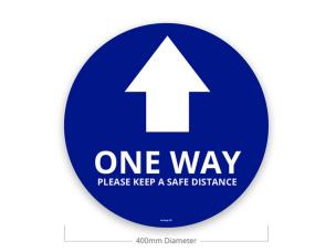 Le Mark FS400W/B-ONEWAY Social Distancing Sticker - One Way - Blue